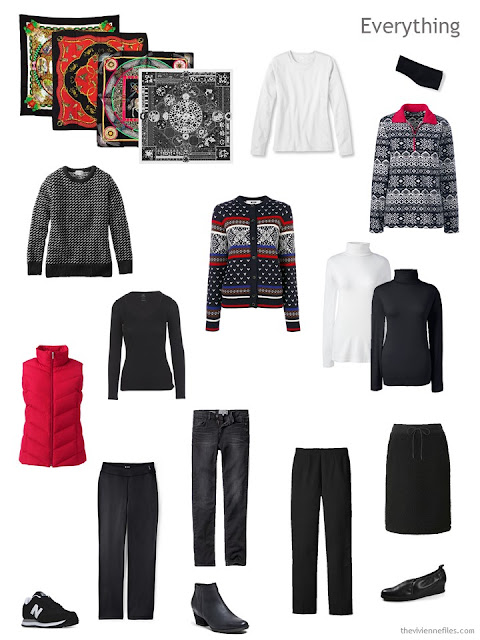 a travel capsule wardrobe for cold weather, in black, white and red