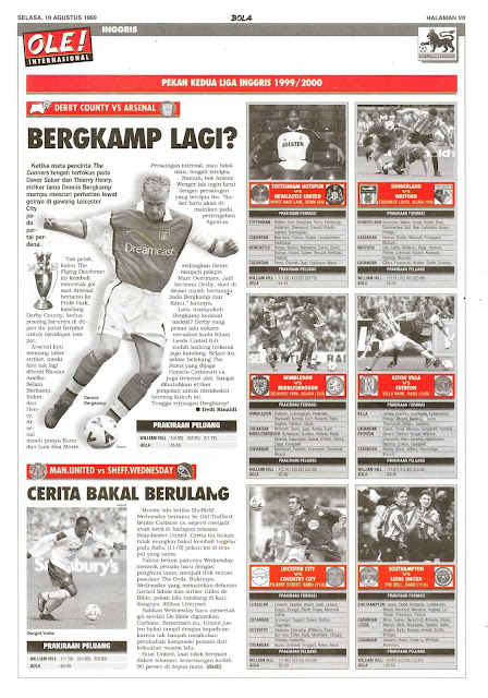 LIGA INGGRIS 1999/2000 DERBY COUNTRY VS ARSENAL BERGKAMP