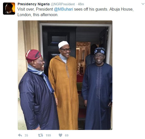 Buhari all smiles as he allegedly receives visitors in London