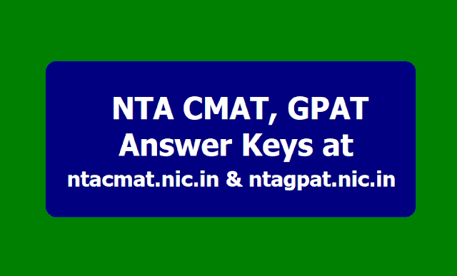 NTA CMAT, GPAT Answer Keys