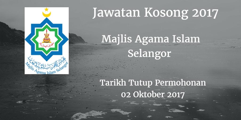 Jawatan Kosong MAIS 02 Oktober 2017