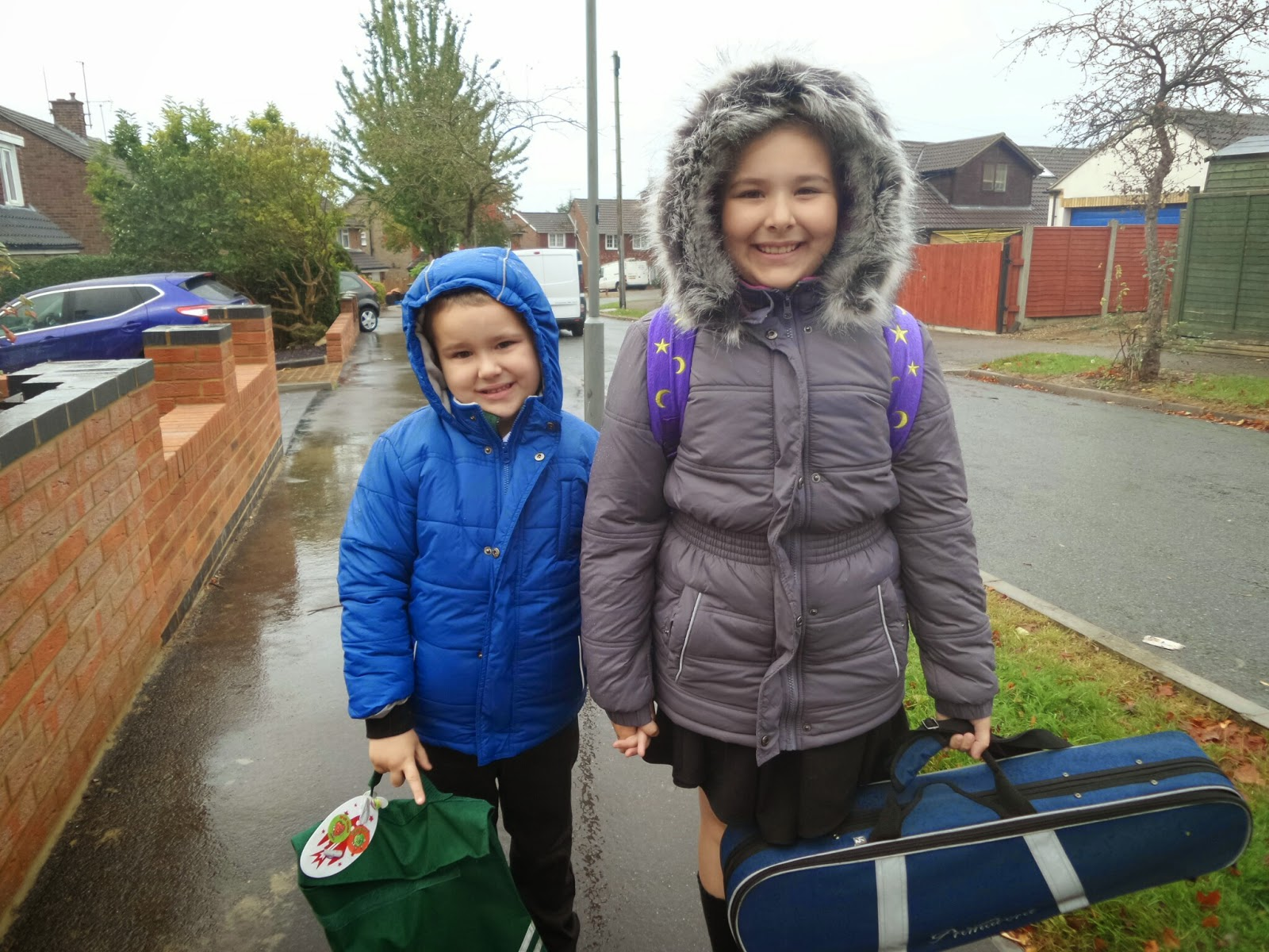 Top Ender and Big Boy in the Rain on the School Run