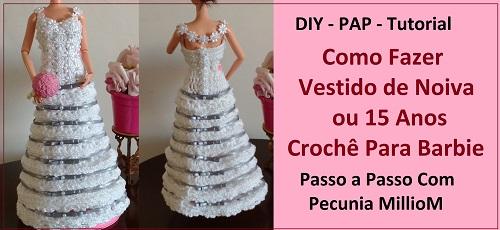 Como Fazer Vestido de Noiva de Crochê Para Boneca Barbie Passo a Passo Com Pecunia MillioM #Parte1