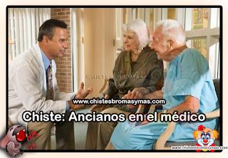 - Una pareja de ancianos va al médico. Al terminar el examen, el médico le pregunta al viejito:  - Su salud parece buena… ¿tiene alguna pregunta, o existe alguna cosa que le preocupe?