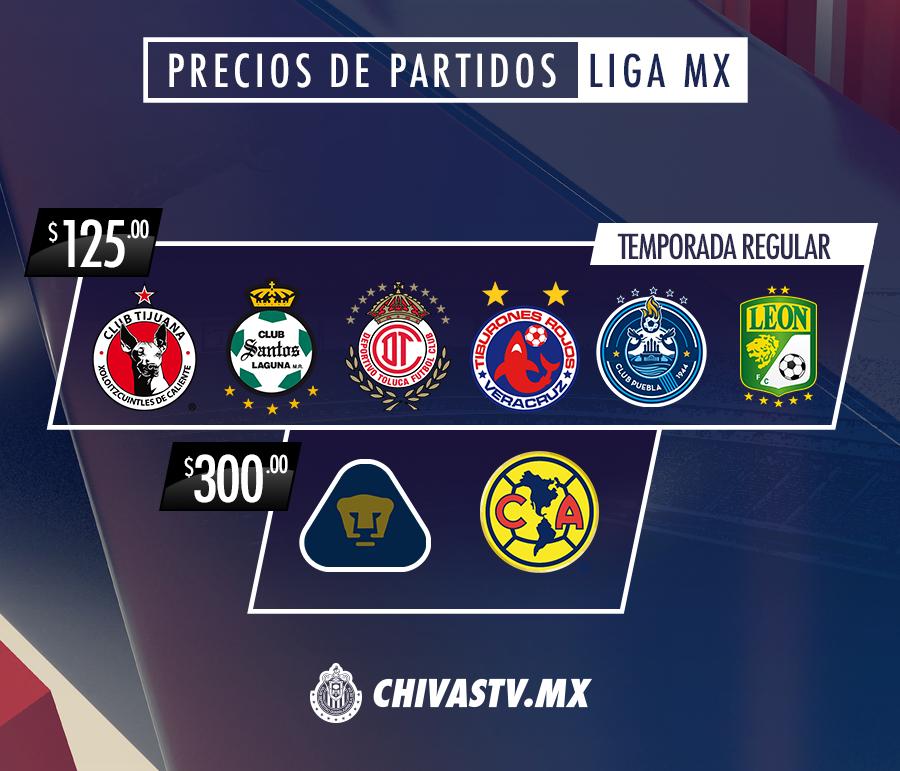 El costo por partido será de 125 pesos cada uno, excepto los duelos ante Pumas y las Águilas, que serán de 300 pesos.