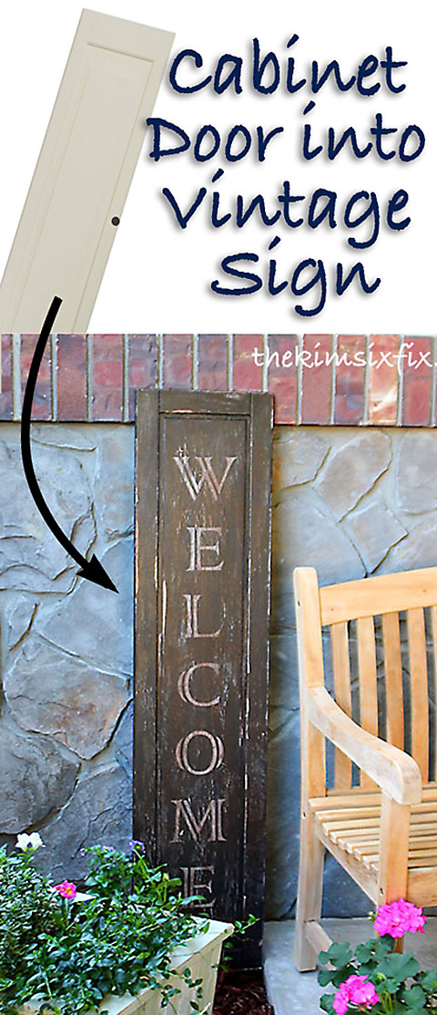 http://www.thekimsixfix.com/2014/04/vintage-welcome-sign-from-ikea-cabinet.html