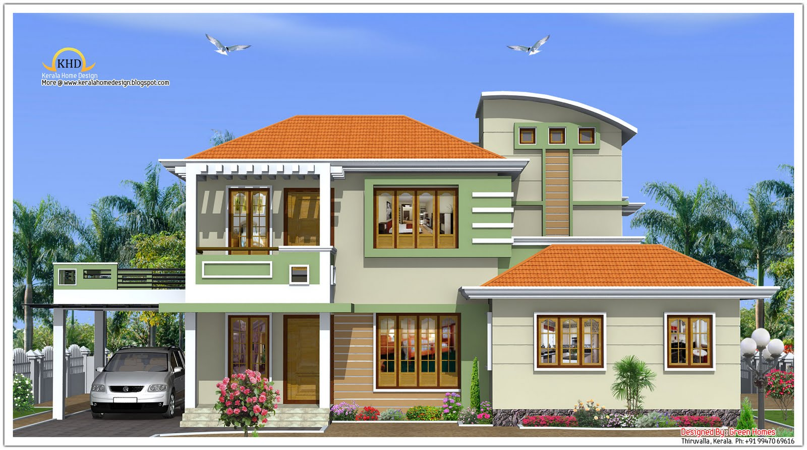 Ground Floor Elevation With Portico : House elevation sq ft kerala home design and