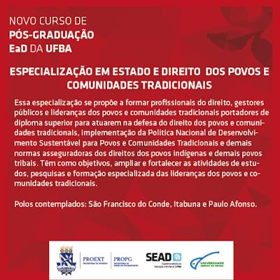ESPECIALIZAÇÃO EM ESTADO E DIREITO DOS POVOS E COMUNIDADES TRADICIONAIS