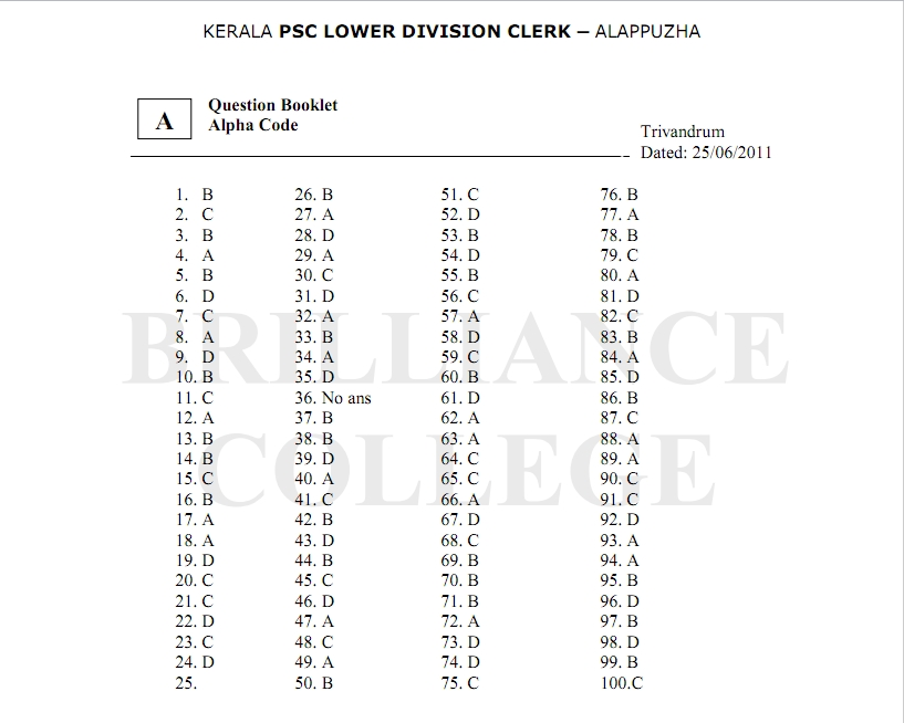 Kerala PSC LDC Answer Key Alappuzha 2011- Question Papers