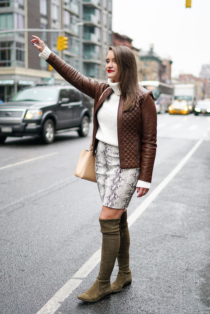 Krista Robertson, Covering the Bases,Travel Blog, NYC Blog, Preppy Blog, Style, Fashion, Fashion Blog, Travel, NYC Street Style, Snakeskin Skirt, Stuart Weitzman Boots, Winter Styles, Leather Jacket, Knee High Boots, Winter Fashion, Winter Layers