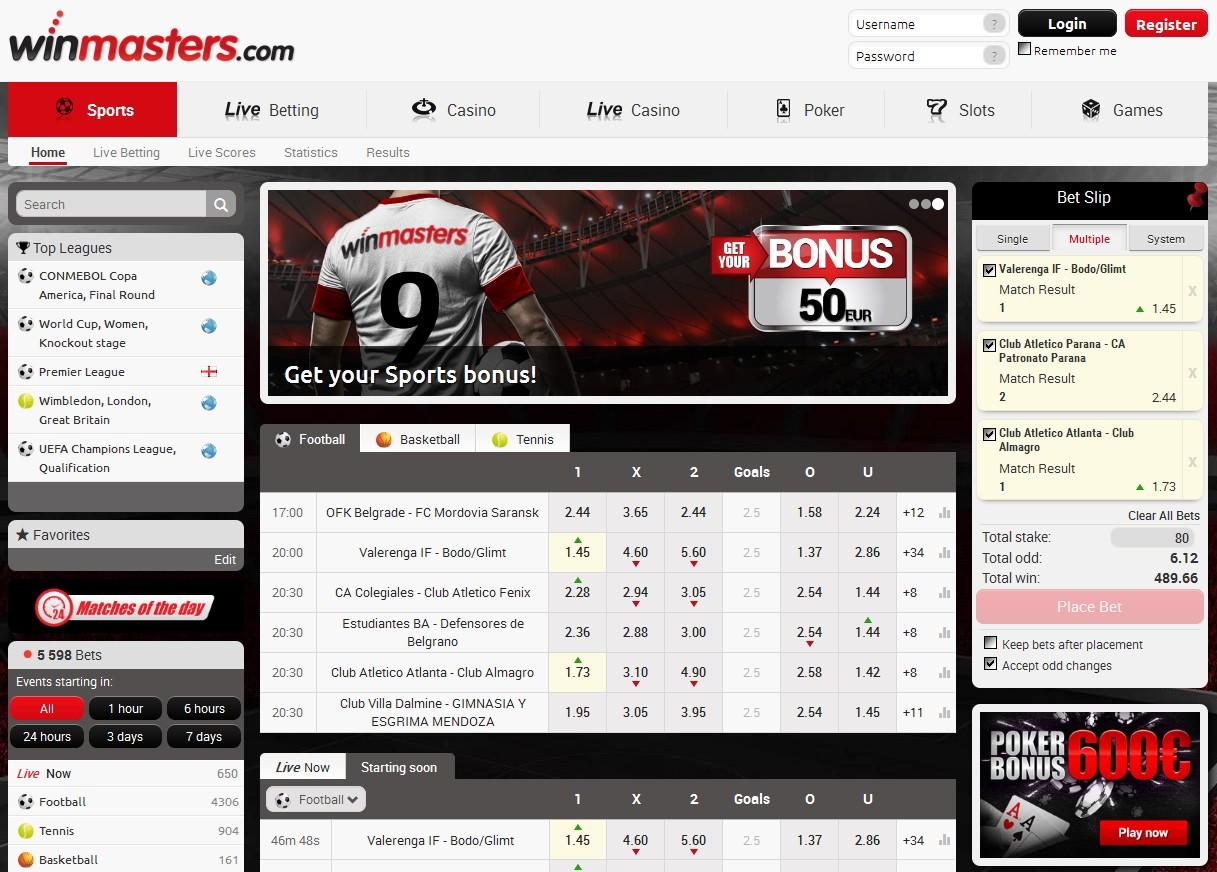 Winmasters Sportsbook Screenshot