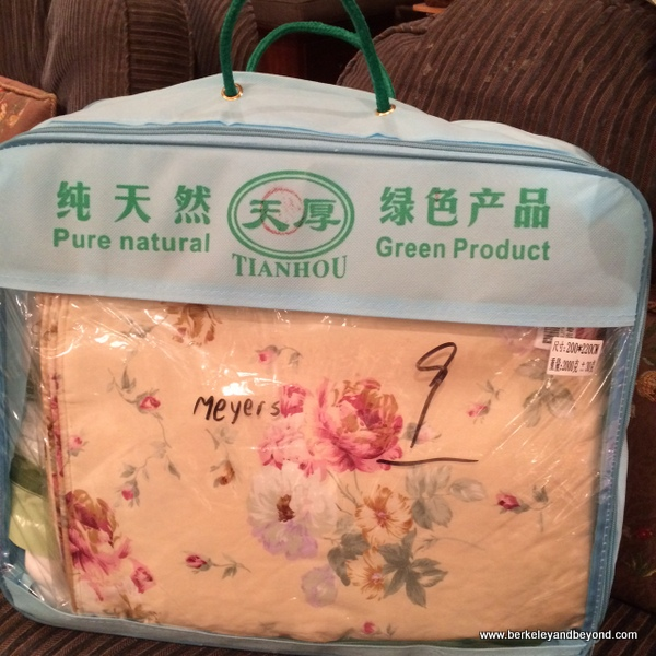 silk pillowcases and duvet packed for travel, souvenirs of China