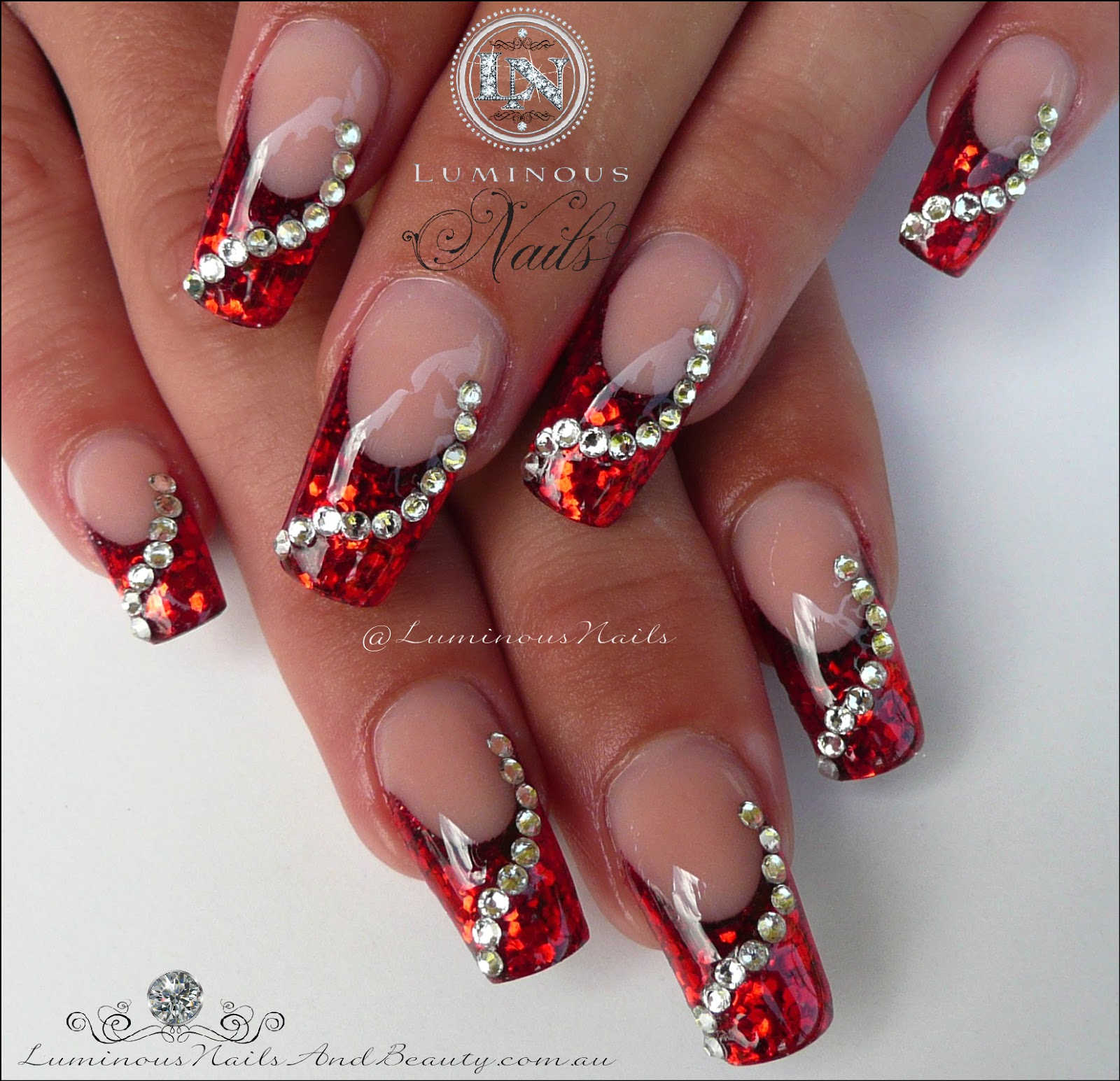 Christmas Nails With Glitter: Luminous Nails: Glittery Red Christmas Nails With