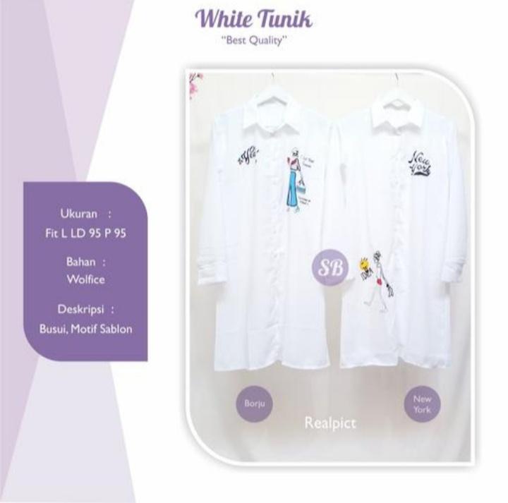 Jual Baju Atasan Wanita White Tunik