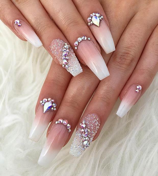 24 Creative Glitzy Nail Art With Diamonds To Copy In 2020 Styleuki