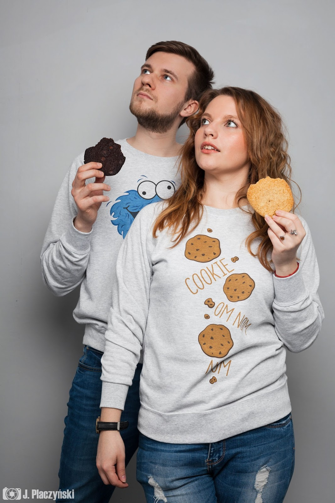 cookie monster koszulove bluzy bluza dla par z nadrukiem love milosc walentynki stylowe pary bluzy z ciasteczkowym potworem pomyslowe nadruki