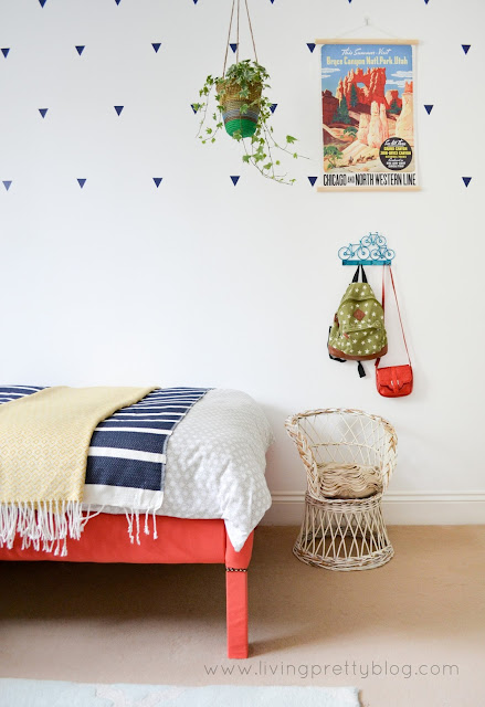 Vintage Rattan Chair & DIY Poster Frame - Blue Red Mint Kids Room - Shared Kids Room Reveal - One Room Challenge