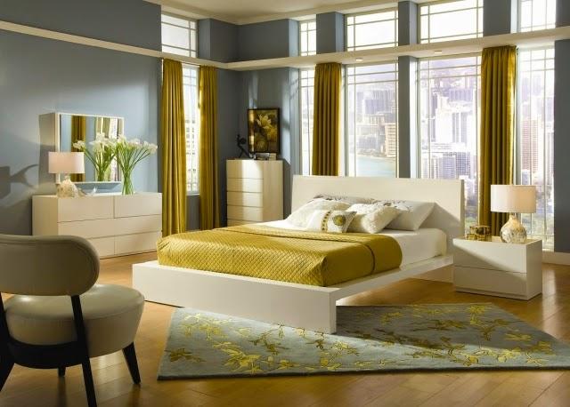 Habitaciones en gris y amarillo colores en casa for Decoracion dormitorio gris