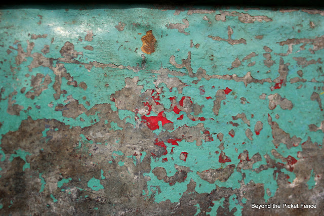 turquoise patina on a metal toolbox