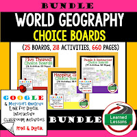 World Geography Digital Learning, World Geography Google Classroom, World Geography Choice Boards, Mapping Skills, Five Themes, People and Resources, United States, Canada, Europe, Latin America, Russia, Middle East, North Africa, Sub-Saharan Africa, Asia, Australia, Antarctica