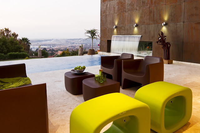 Green and Brown poolside furniture