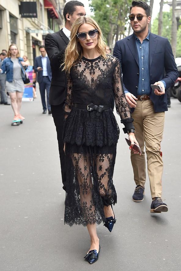 Street Style + Black Lace Dress + Elie Saab + Olivia Palermo + PFW