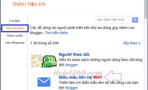 Contact Form Widget Blogger - Tiện ích liên hệ có sẵn của Blogspot