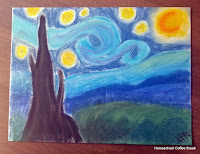 Van Gogh Style Landscape on the Virtual Refrigerator  - share your art posts on our Virtual Refrigerator - an art link-up hosted by Homeschool Coffee Break @ kympossibleblog.blogspot.com