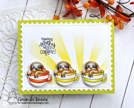 Sloth and Coffee card by Amanda Bodine | Slothy Coffee Stamp Set by Newton's Nook Designs #newtonsnook #handmade