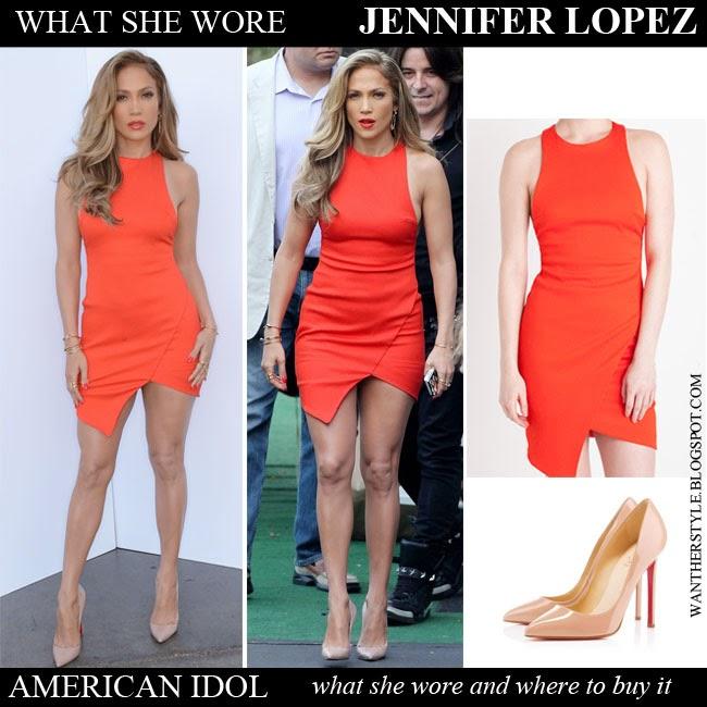 ad9a42dd6b83 Jennifer Lopez in bright orange tangerine mini dress Bec & Bridge Want Her  Style