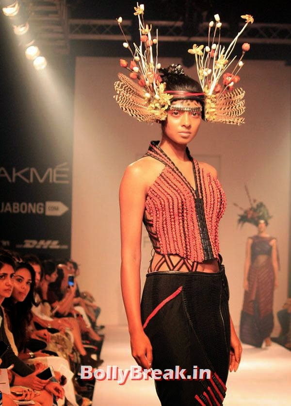 A model in a Neha Agarwal creation, Bizarre Dresses from Fashion Show - LFW