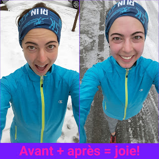 Coureuse heureuse, sourire, hiver, neige, Montréal, montage de photos
