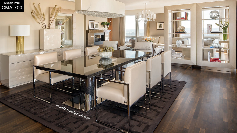 Muebles pegaso dise os de lujo en comedores de acero for Precios de comedores en vidrio