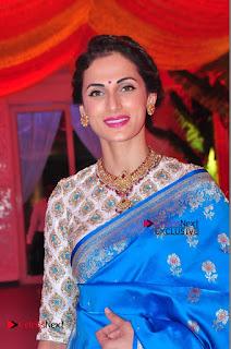 Actress Model Shilpa Reddy Exclusive Stills in Blue Saree at Vijay Karan Aashna Wedding  0016.JPG