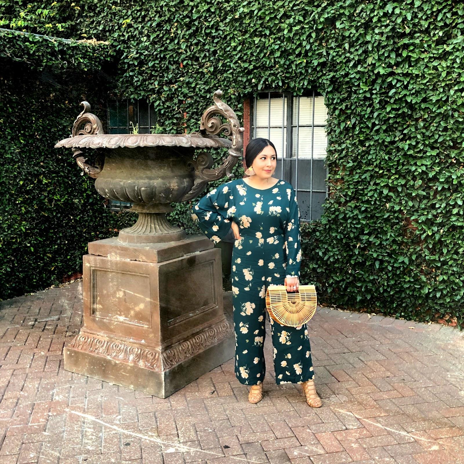 jumpsuit, outfits, floral print, green jumpsuit, jumpsuit outfit