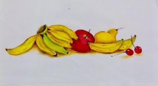 bananas com peras, maça e cerejas