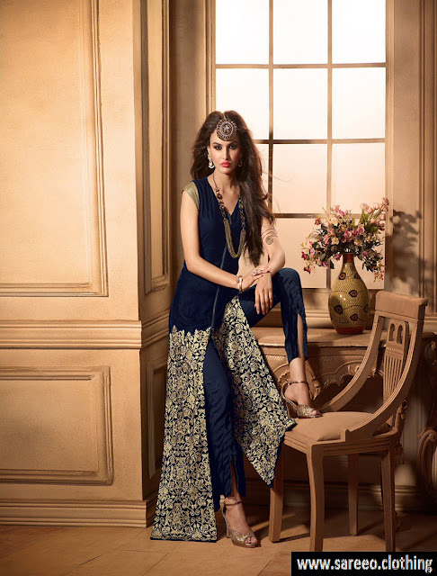 Multi-Slit Georgette Straight Suit, Multi-Slit Georgette Straight Suit 2017,  2017 latest Multi-Slit Georgette Straight Suit