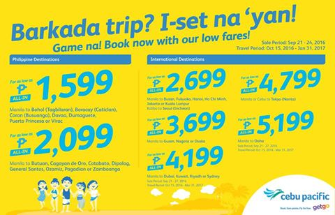 Cebu Pacific Air Seat Sale Promo 2016-2017