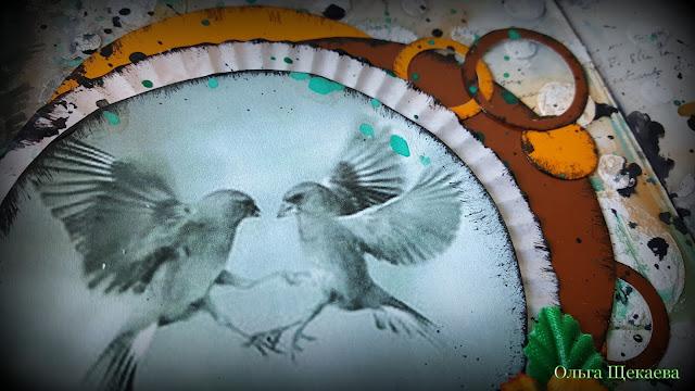 разворот, арт-бук, джанк, круги, птицы, скрап, микс-медиа