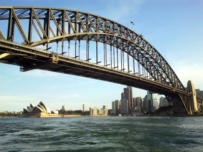 Sydney harbour bridge with Opera house backdrop
