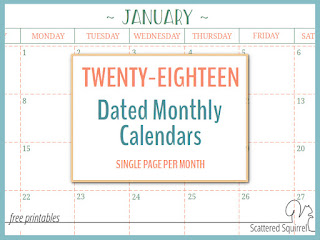 2018 dated monthly calendar