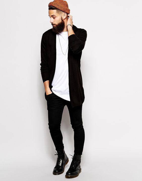 Estilo Cardigan Masculino preto com calça skinny preta Calitta Brasil