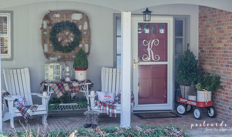 Farmhouse style Christmas front porch decor