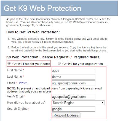 Masukkan identitas sobat untuk mendapatkan licensi K9 Web Protection