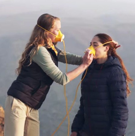 Wearing an oxygen mask at the Andes Mountains in Santiago, Chile.