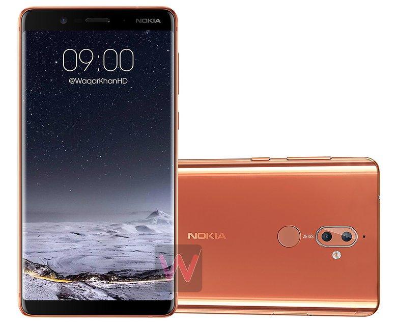 Nokia 9 menampilkan Tampilan yang berada di depan Kurva
