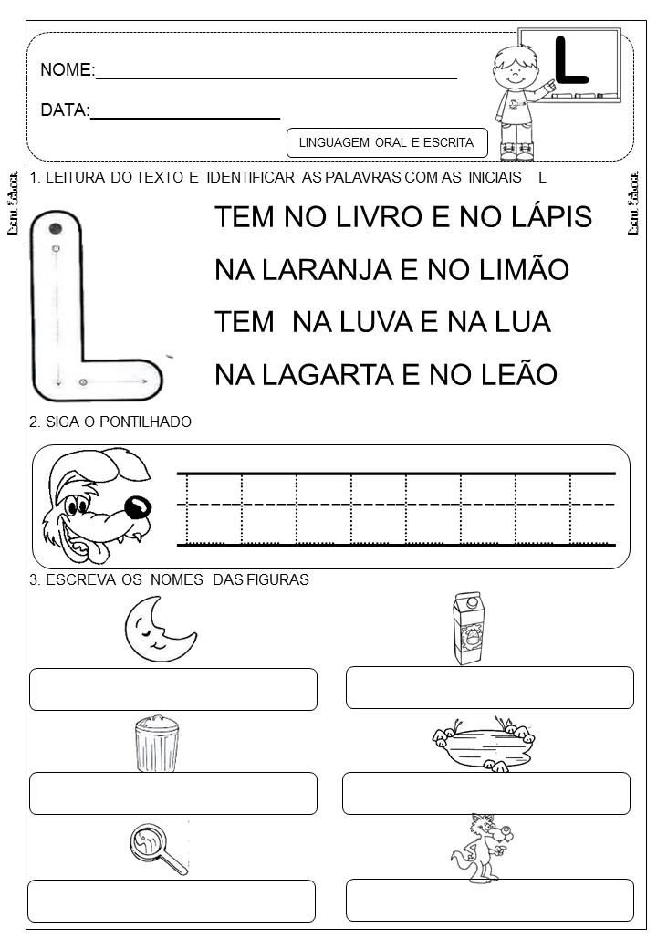 Dani Educar Letra L Atividades Letra E