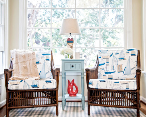 Coastal Upholstered Chairs In Beachy Amp Nautical Fabrics