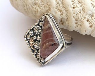Rhodochrosite Ring with hand fabricated flower garden setting