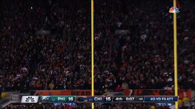 Chicago's missed field goal against the Philadelphia Eagles